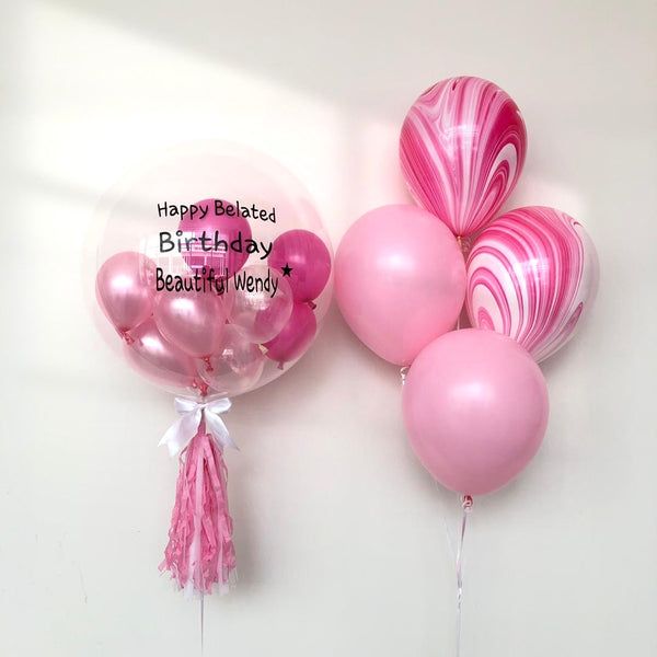*JAN-FEB RM168* Pink Marble Bubble *Helium*