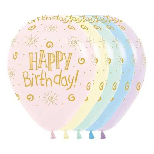 "12"" Round Happy Birthday - PASTEL"