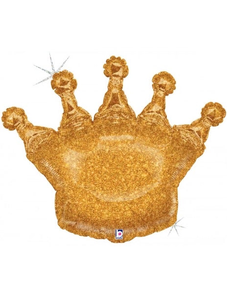 "Glitter Gold Crown (36"") *Helium*"