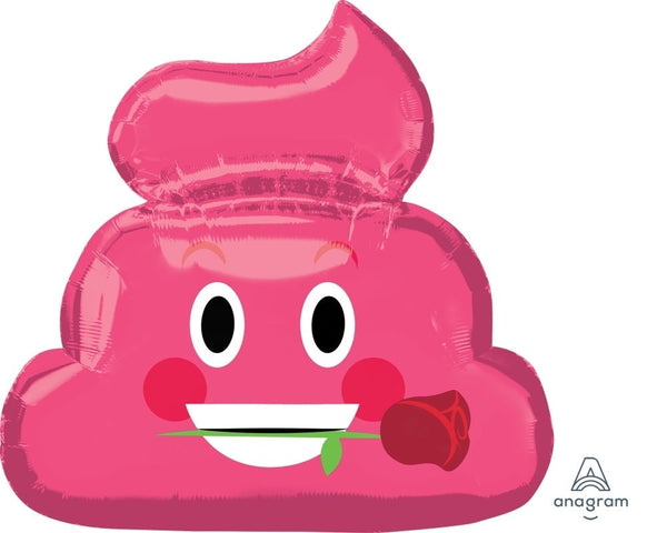 "Poop With Rose In Pink SuperShape (25"" x 24"") *Helium*"