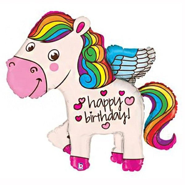 "Unicorn Happy Birthday! LARGE (45"") *Helium*"