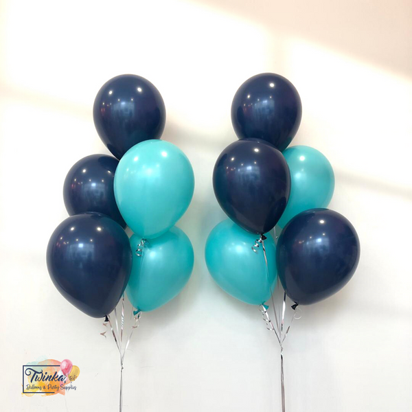 "*March & April RM45* 12"" Dark Blue & Turquoise - 2 bunches *Helium*"