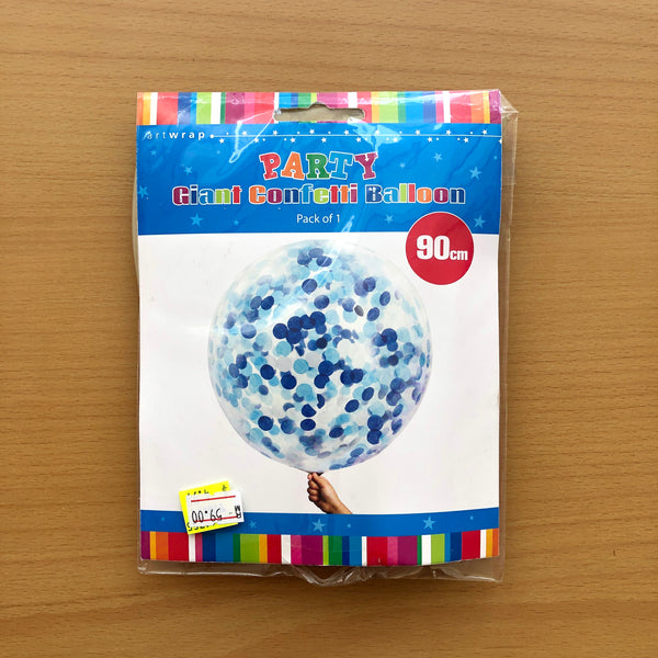 Giant Blue Confetti Balloon (90cm)
