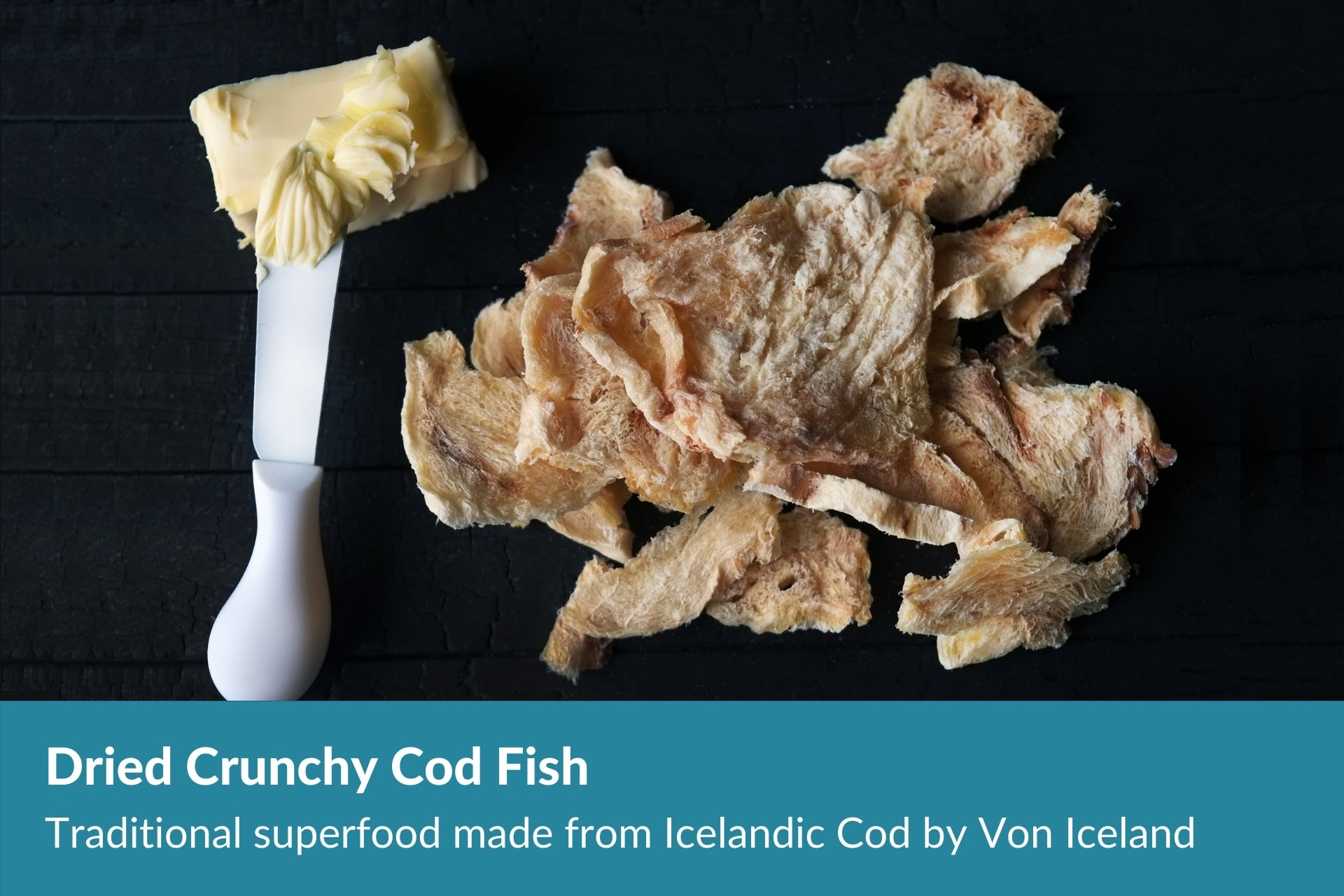 Dried crunchy cod fish by Von Iceland