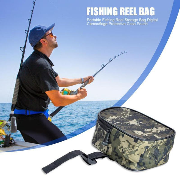 Camouflage Fishing Reel Case Protective Cover Storage Bag Pouch