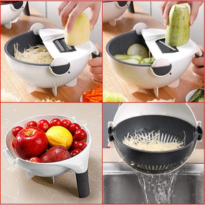 11 in 1 Multifunction Magic Rotate Vegetable Cutter with Drain Basket Large Capacity Vegetables Chopper Veggie Shredder Grater Portable Slicer Kitchen Tool