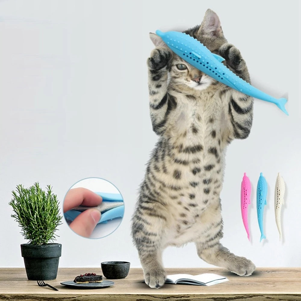 Soft Silicone Mint Cat Teeth Cleaning Toy Fish
