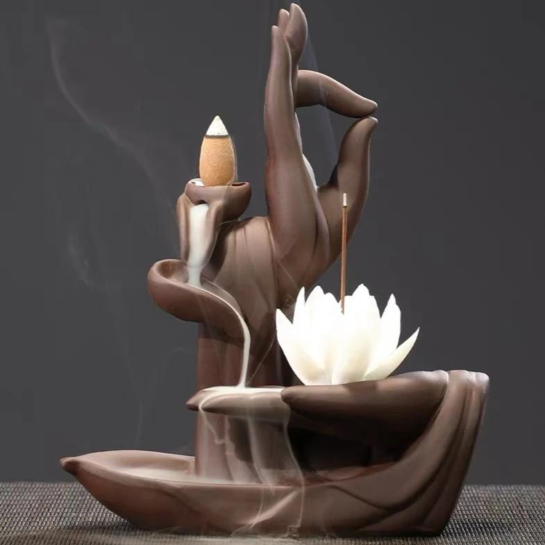 Lotus Hand Backflow Waterfall Incense Burner