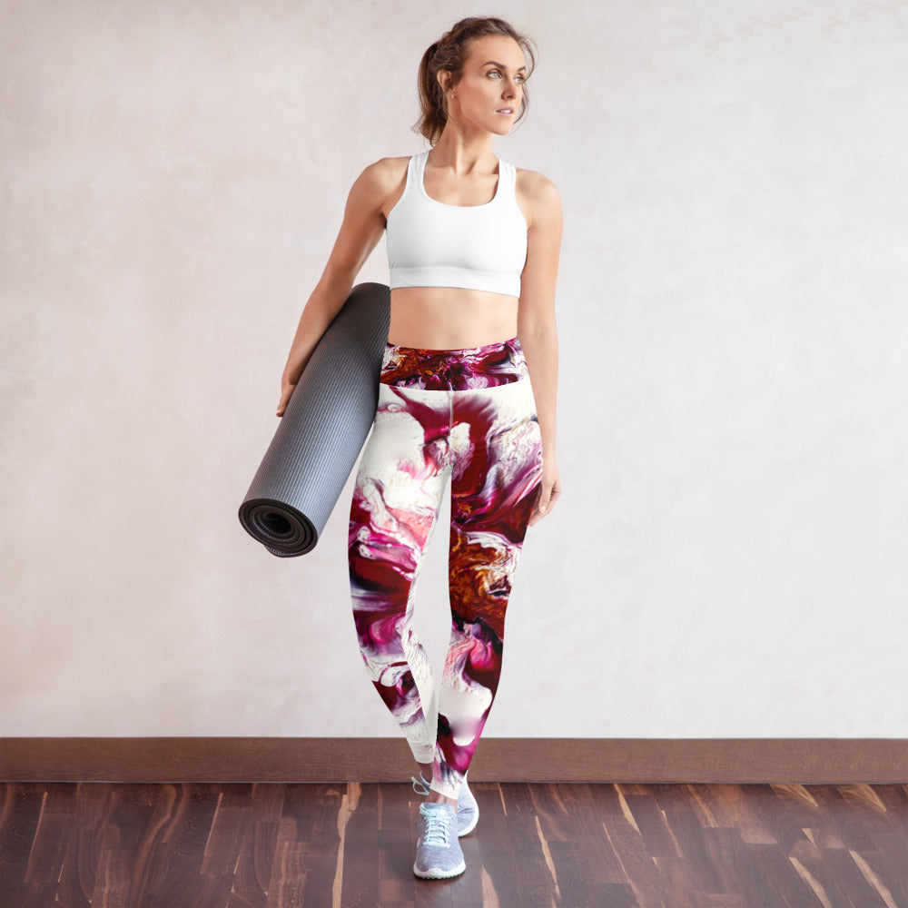 Pink, Gold Art Designed Yoga Leggings