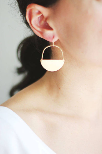 Half Moon Earrings | Half Circle Earrings | Minimalist Earrings | Geometric Earrings | Gold Drop Earrings | Brass Earrings | Sterling Silver