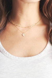 Tiny Hammered Disc Necklace | 14k Gold Fill Necklace | Sterling Silver Necklace | Layer Necklace