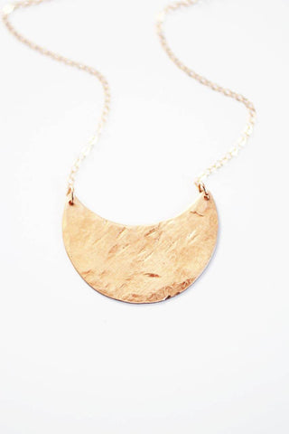 Hammered Crescent Moon Necklace | Brass Necklace | 14k Gold Filled Necklace | Sterling Silver Necklace | Crescent Necklace