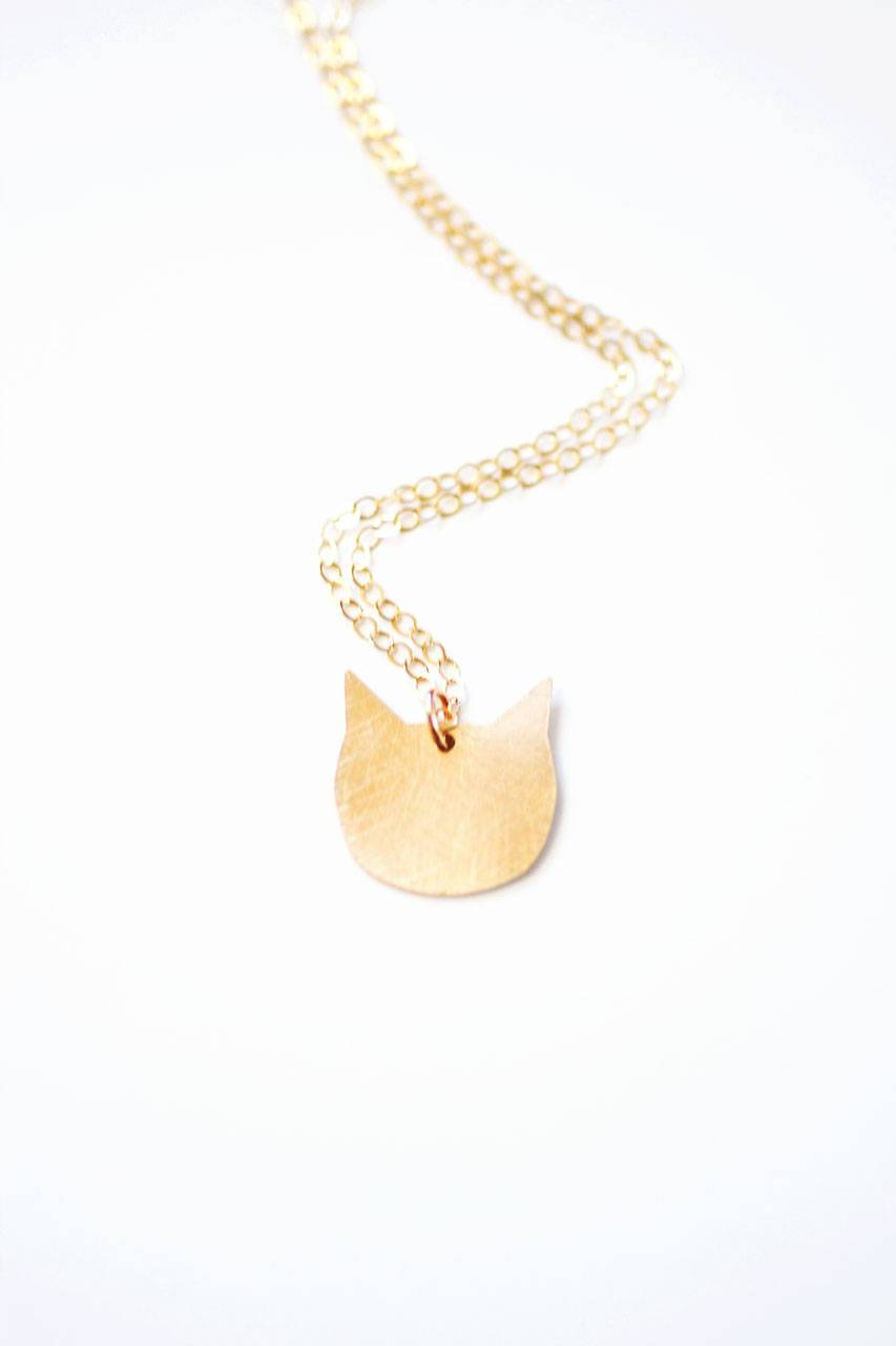 Tiny Cat Necklace | Brass | 14k Gold Filled | Sterling Silver