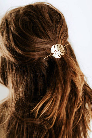 Monstera Leaf Hair Pin | Brass Hair Clip | Brass Hair Slide | Hair Barrette | Hair Accessories | Palm Leaf