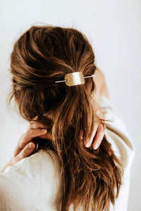 Polkadot Bar Hair Pin | Brass Hair Clip | Brass Hair Slide | Hair Barrette | Hair Accessories | Silver Hair Clip