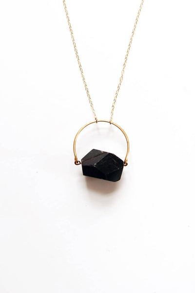 Arch Black Tourmaline Necklace |  Black Stone Necklace | Gold Tourmaline Necklace | Sterling Tourmaline | Stone Jewelry | Tourmaline Jewelry