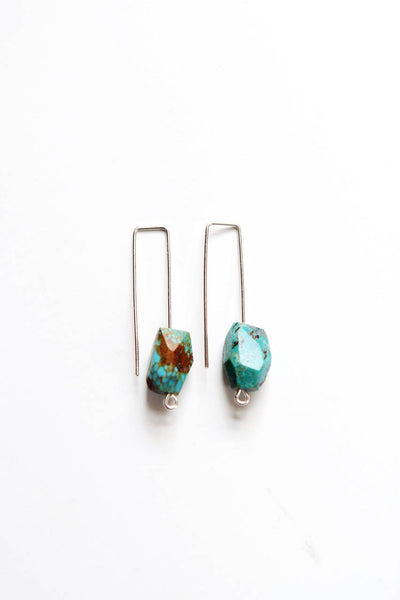 Minimalist Wire Turquoise Earrings | Minimalist Earrings | Modern Earrings | Blue Stone Earrings | Gold Stone | Turquoise Jewelry