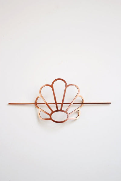 Art Deco Shell Hair Pin | Brass Hair Clip | Copper Hair Slide | Hair Barrette | Hair Accessories | Copper Hair Clip | Rattain Inspired