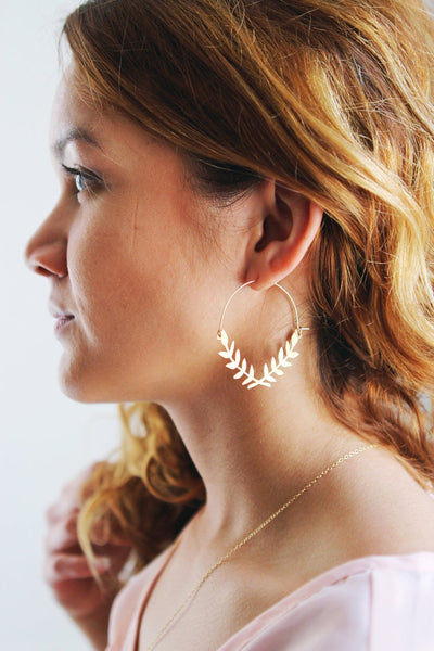 Laurel Wreath Hoop Earrings | Laurel Branch Earrings | Leaf Earrings | Statement Earrings | Statement Jewelry | Brass Gold Earrings