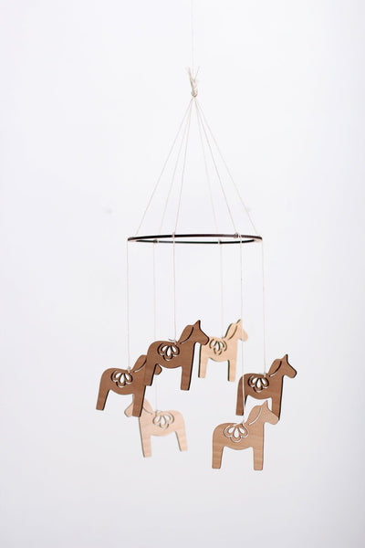 Wooden Dala Horse Mobile | Nursery Decor | Crib Mobile | Home Decor | Palm Leaf | Wood Mobile | Baby Room | Scandinavian Decor
