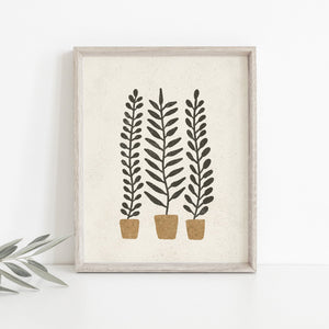 Potted Ferns Wall Art Print | Plant Wall Art | Plant Art | Plant Illustration | Fern Art | Boho Art | 5x7 8x10 11x14 16x20
