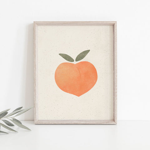Peach Wall Art Print | Fruit Wall Art | Fruit Art | Fruit Illustration | Orange Art | Summer Art | 5x7 8x10 11x14 16x20