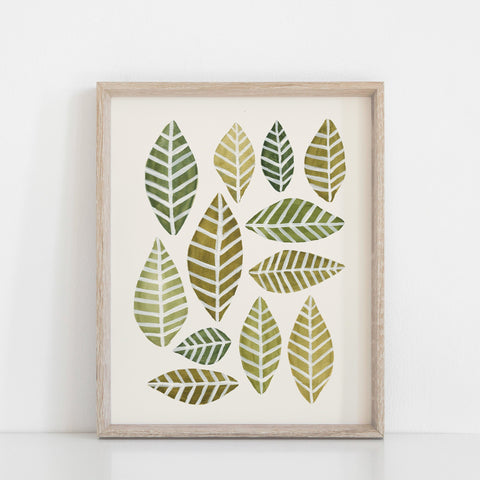 Leaves Arrangment Wall Art Print - Green | Nature Art | Watercolor Art | Green Art | Leaves Art | Leaf Art | Botanical | 5x7 8x10 11x14