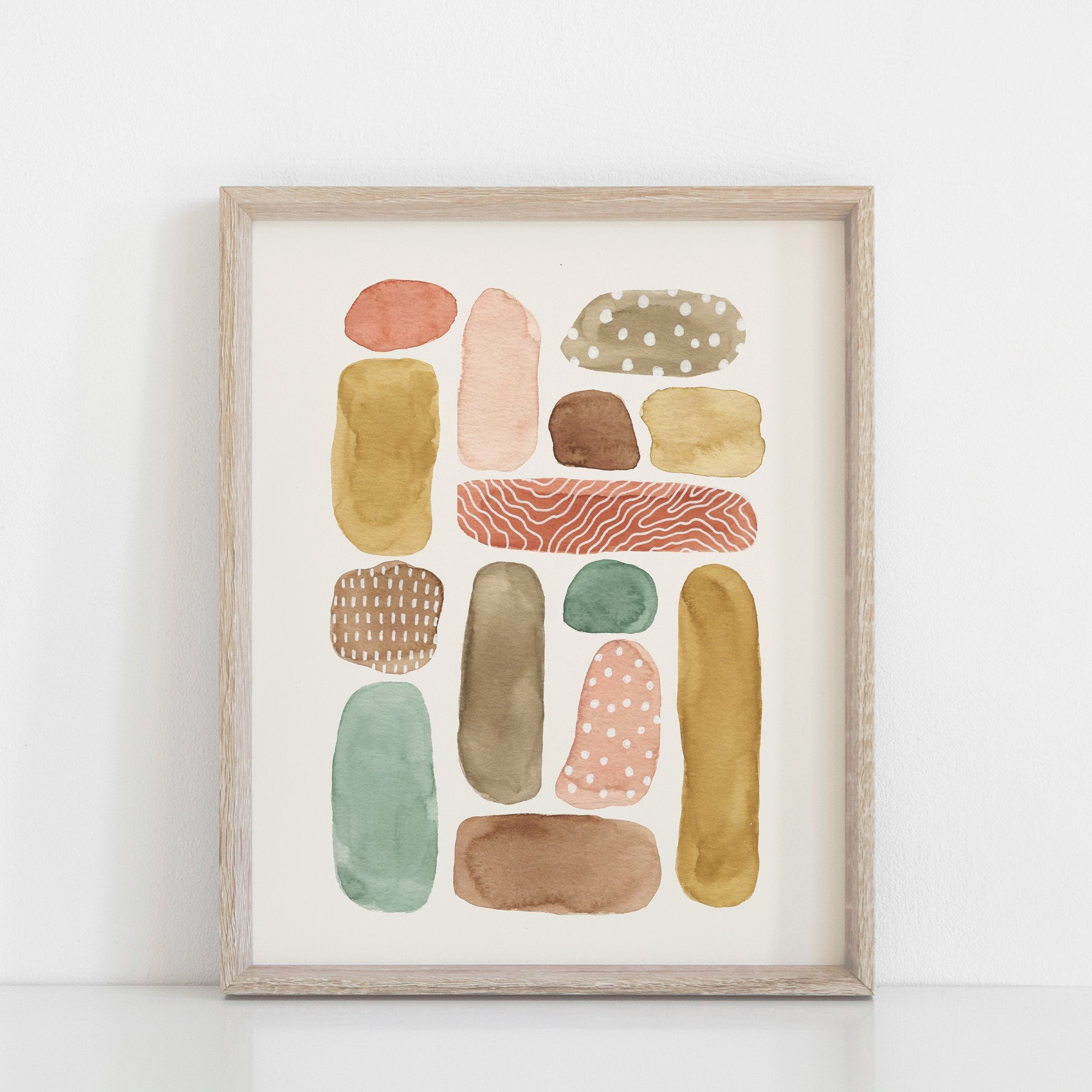 Beach Pebbles Wall Art Print | Nature Art | Watercolor Art | Pebble Art | Beach Art | Abstract Art | Modern Art | 5x7 8x10 11x14 16x20