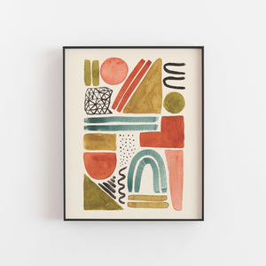 Watercolor Shape Abstract Wall Art Print | Watercolor Art | Geometric Art | Shape Art | Abstract Art | Modern Art | 5x7 8x10 11x14 16x20