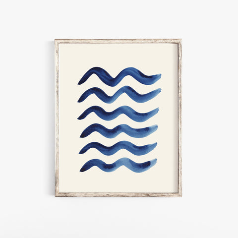 Blue Waves Pattern Wall Art Print  | Watercolor Art | Beach Art | Pattern Art | Indigo Art | Blue Art | Water Art | 5x7 8x10 11x14
