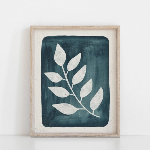 Cyanotype Inspired Branch Wall Art Print - Ink Blue | Nature Art | Watercolor Art | Blue Art | Block Print | Botanical | 5x7 8x10 11x14
