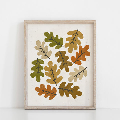 Autumn Leaves #2 Wall Art Print - Multicolor | Leaves Wall Art | Nature Art Print | Modern Art | Mid Century Art | Minimalist Art | 5x7 8x10