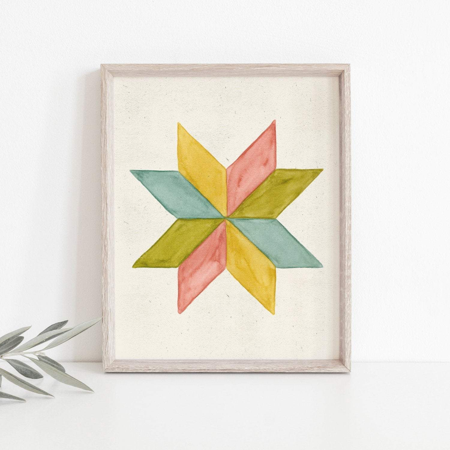 Pinwheel Quilt Block Wall Art Print - Multicolor | Geometric Wall Art | Spring Art Print | Watercolor Art Print | Minimalist Art | 5x7 8x10