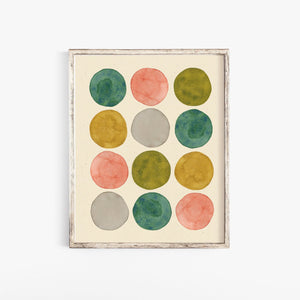 Watercolor Dots Wall Art Print - Pink + Green | Geometric Wall Art | Watercolor Art Print | Minimalist Art | Circle |  5x7 8x10 11x14
