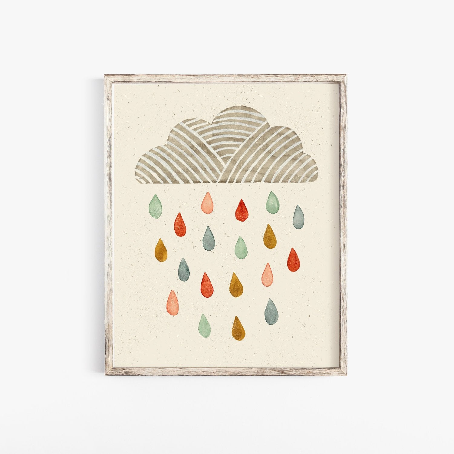 Rain Cloud Wall Art Print | Kids Wall Art | Watercolor Art Print | Minimalist Art | Nature Wall Art | Rain Cloud Art Print |  5x7 8x10 11x14