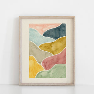 Watercolor Abstract Landscape Art Print | Organic Wall Art | Watercolor Art Print | Minimalist Art | Landscape Wall Art |  5x7 8x10 11x14
