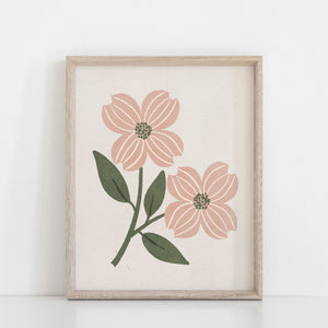 Dogwood Flower Wall Art Print - Pink + Cream | Minimalist Art | Flower Art | Dogwood Art | Vintage Art | Nature Art | 5x7 8x10 11x14