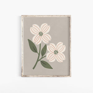 Dogwood Flower Wall Art Print - Gray + Cream | Minimalist Art | Flower Art | Dogwood Art | Vintage Art | Nature Art | 5x7 8x10 11x14