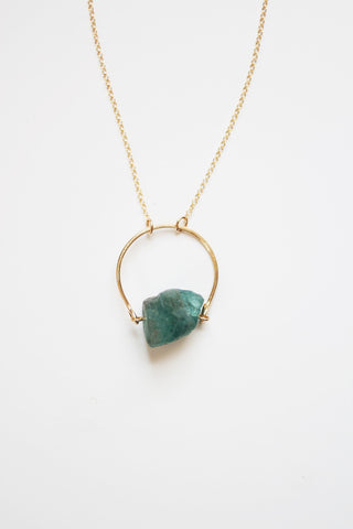 Arch Apatite Raw Crystal Necklace |  Blue Stone Necklace | Raw Stone Necklace | Gold Apatite Necklace | Raw Stone Jewelry | Apatite Jewelry