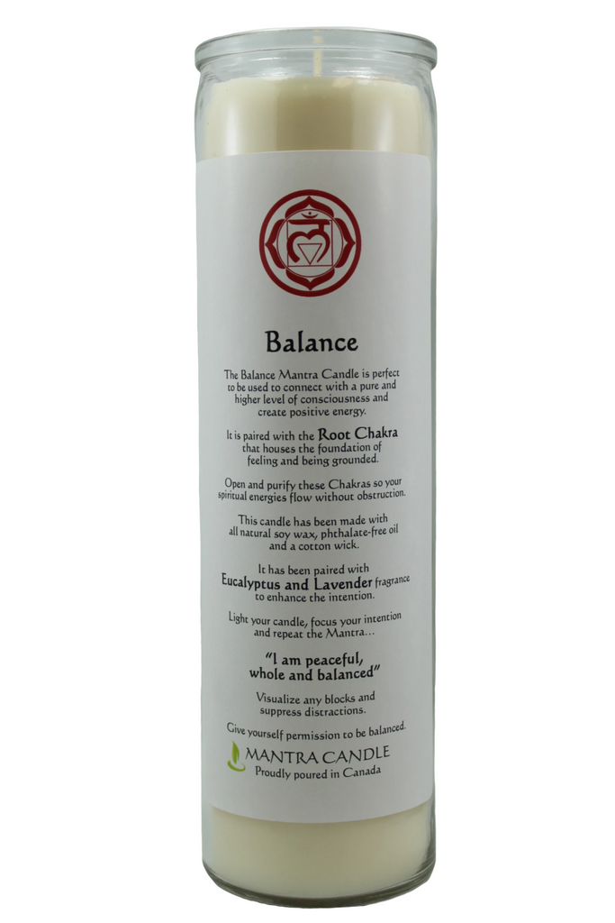 Mantra Candle - Balance - 14oz Glass Pillar, Soy Wax, Eucalyptus and Lavender