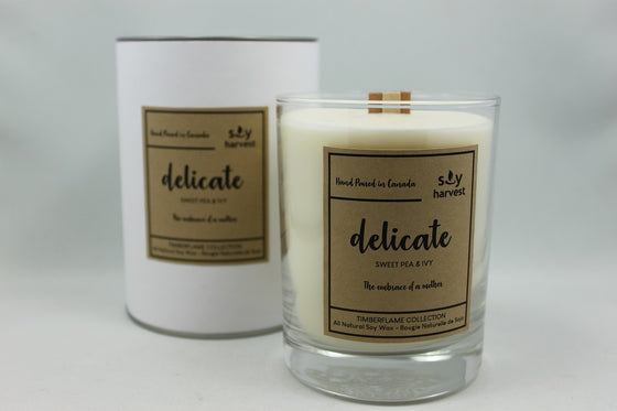 Mother's Day Soy Timberflame Candle.  Delicate