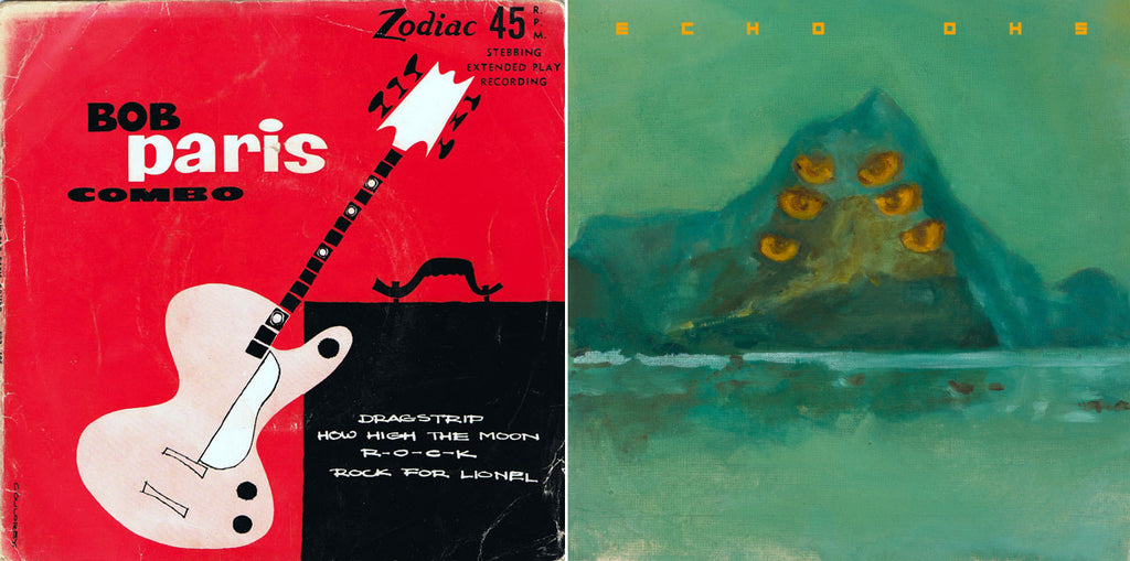 """Then and now: The Bob Paris Combo self-titled 12"""" EP (1959) is a classic of instrumental rock (which now sells for NZ$150+ online); Echo Ohs' 12"""" EP Wild Weeds (2020)."""