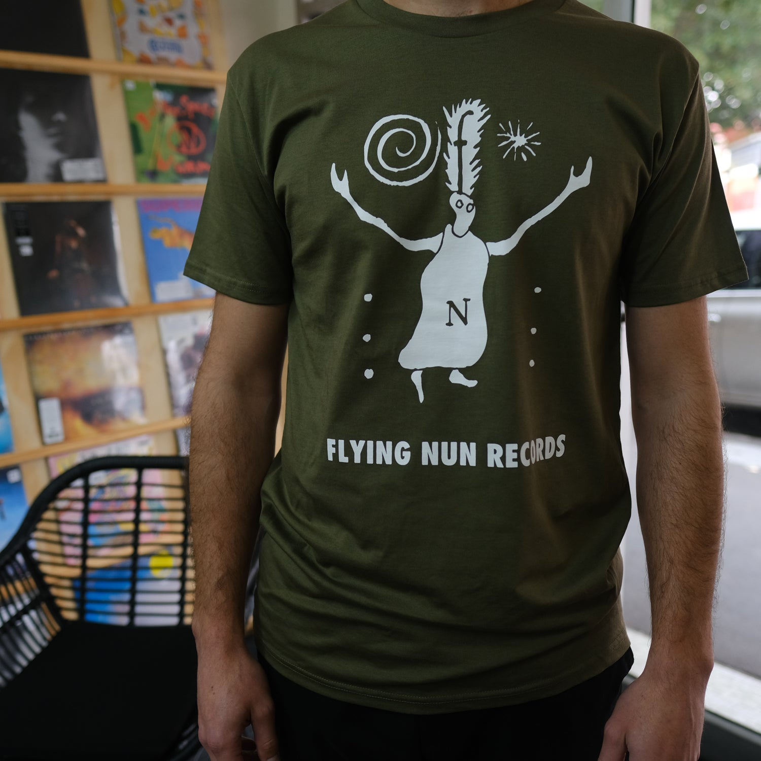 Fuzzy Flying Nun T-Shirt (Army Green)
