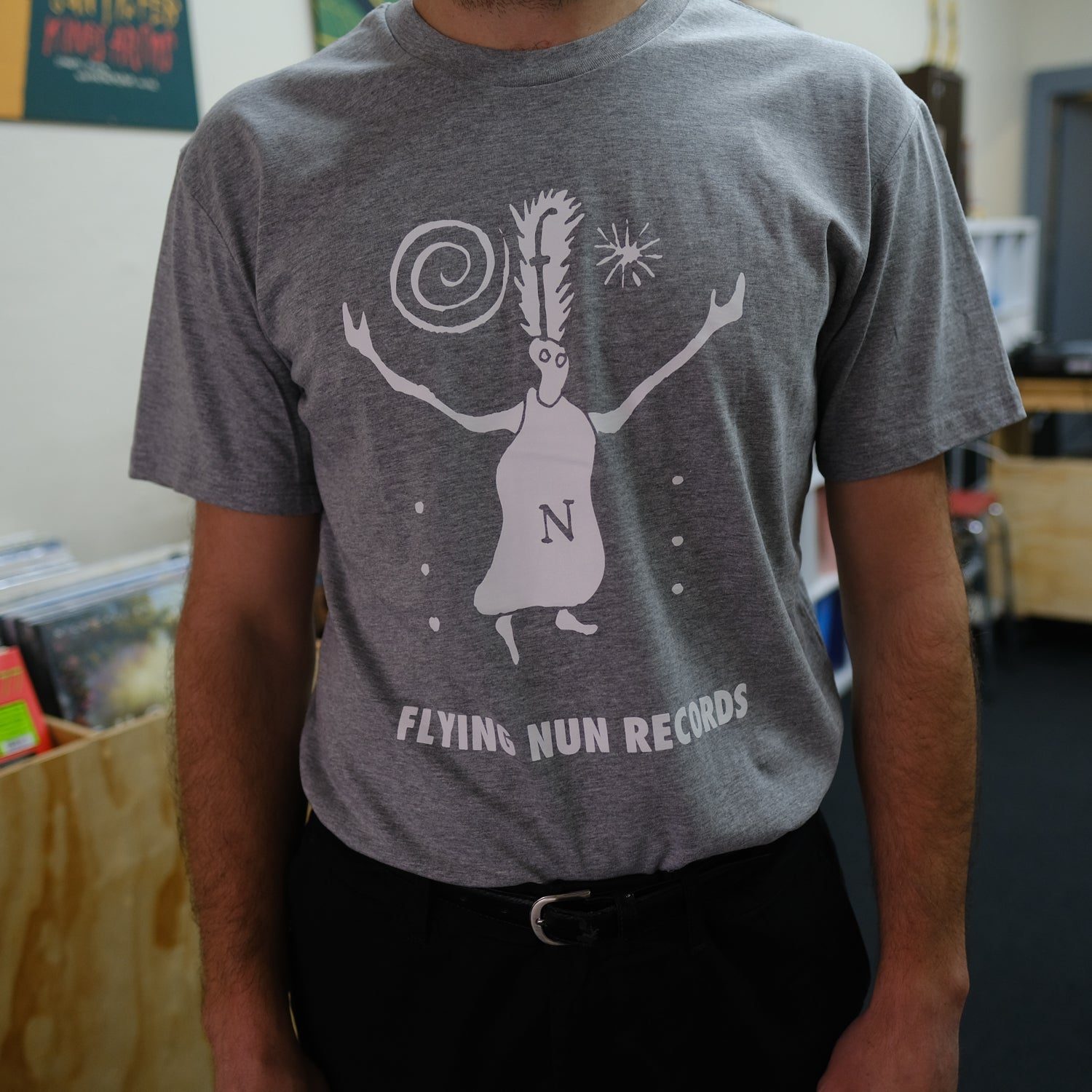 Fuzzy Flying Nun T-Shirt (Grey Marle)