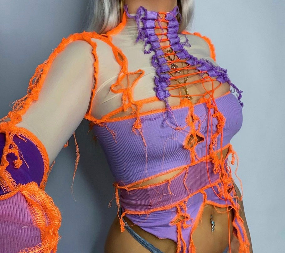 ONE OF A KIND PURPLE AND ORANGE LACE UP
