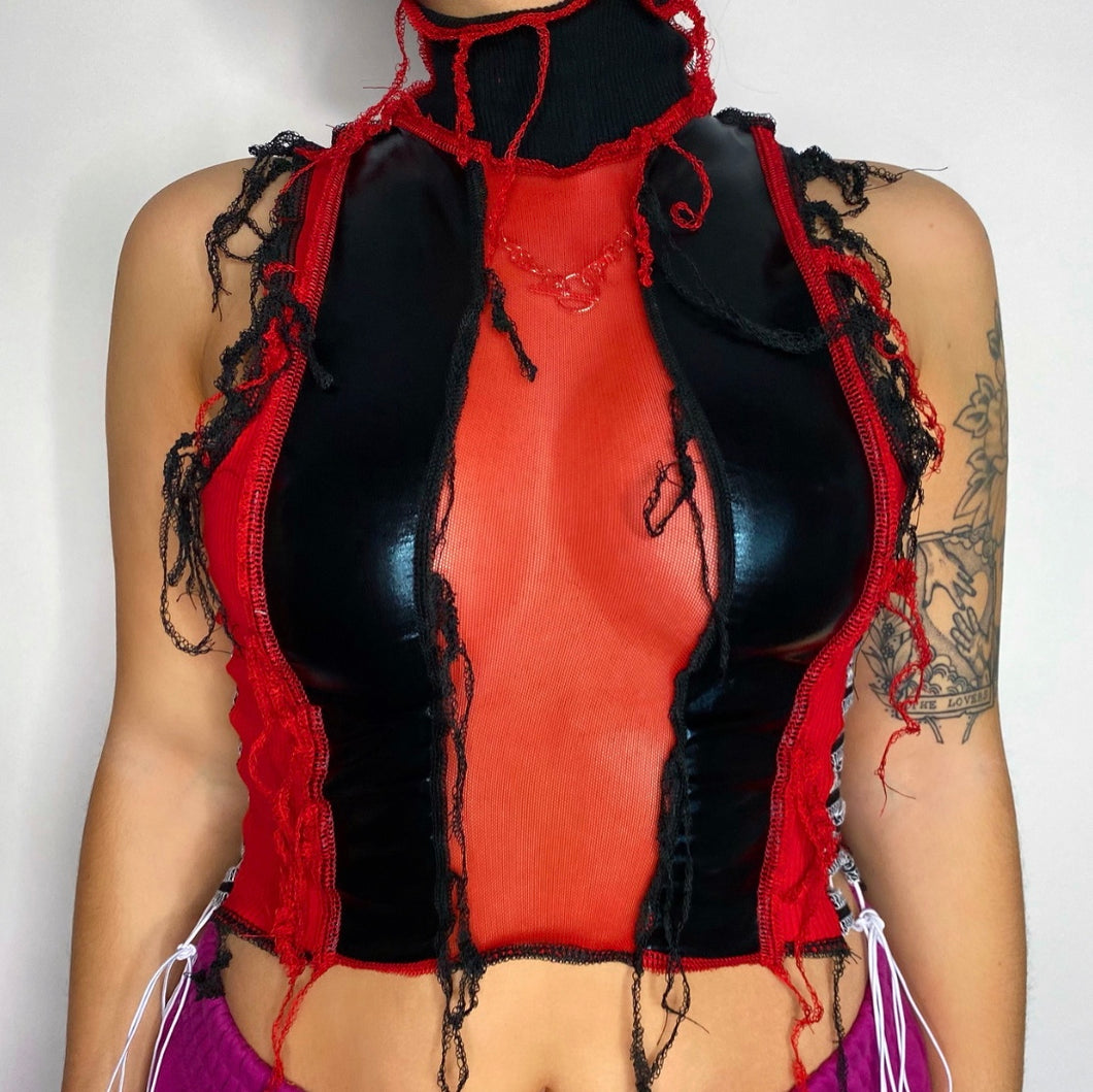 BLACK, LEATHERETTE, AND RED TOP. LACE UP SIDES. ONE OF A KIND