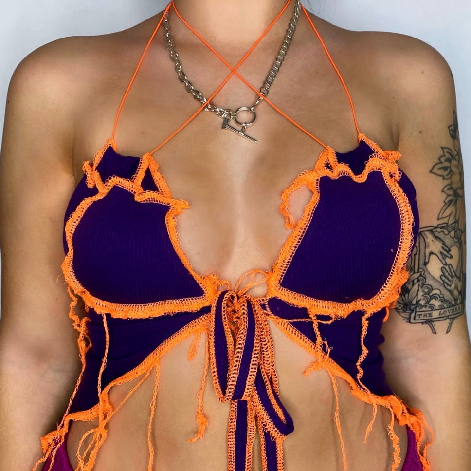 PURPLE AND ORANGE HALTERNECK TOP. ONE OF A KIND.