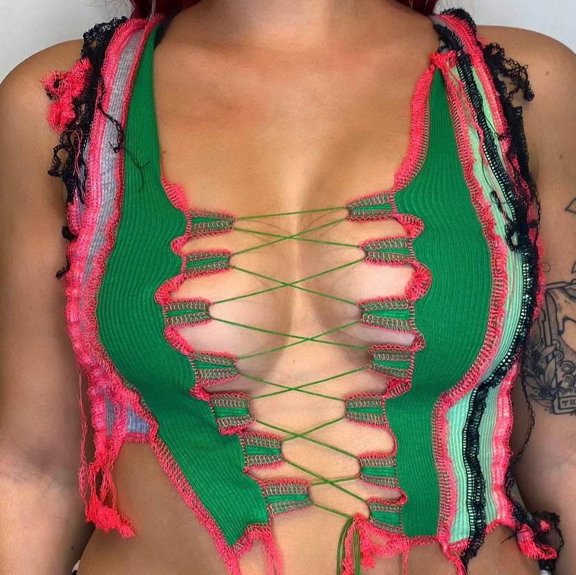 GREEN AND NEON PINK LACE UP TOP. ONE OF A KIND.