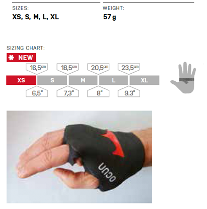 Ocun Crack Gloves Sizing Chart
