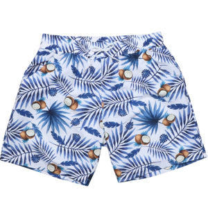 Men's Blue leaf and Coconut Print Swim Trunks